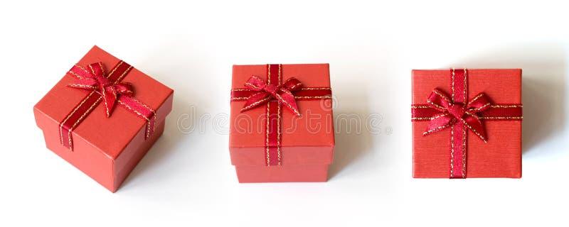 Kolekcja czerwony prezenta pudełko odizolowywający na białym tle obrazy royalty free