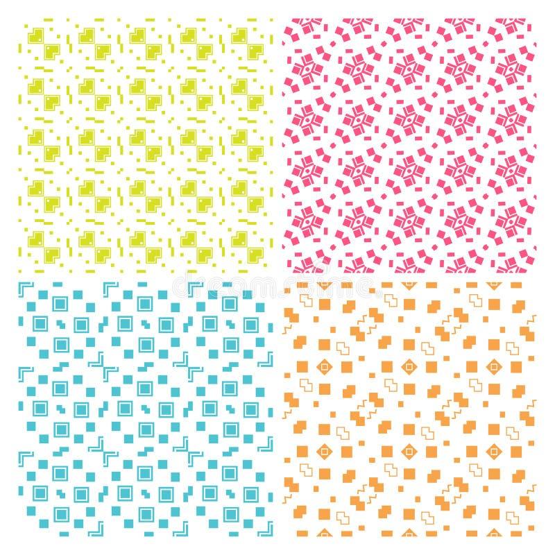 Kolekcja cztery prostego geometrycznego wektorowego bezszwowego wzoru ilustracja wektor