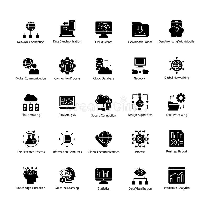 Kolekcja dane nauki glifu wektoru ikony ilustracja wektor