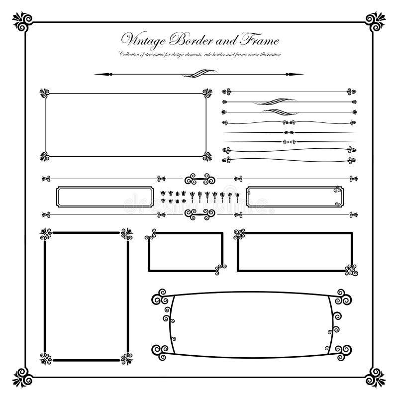 Kolekcja dekoracyjny dla projektów elementów, granicy i ramy, v ilustracja wektor