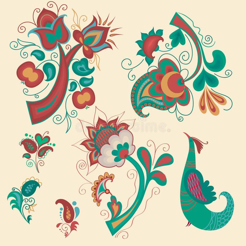 kolekcja deseniuje rosjanina ilustracja wektor