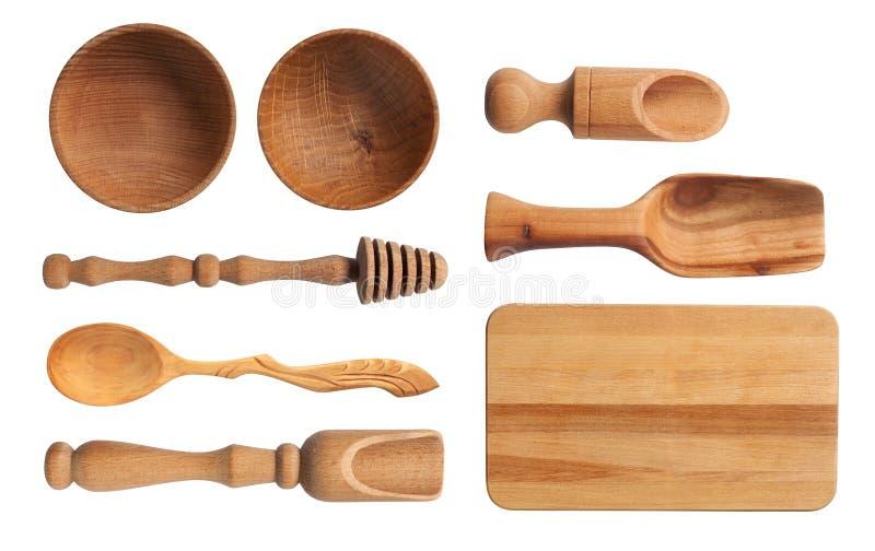 Kolekcja drewniani kuchenni naczynia obrazy stock