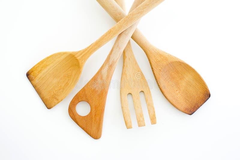 Kolekcja drewniani kuchenni naczynia odizolowywający na białym backgr zdjęcia stock