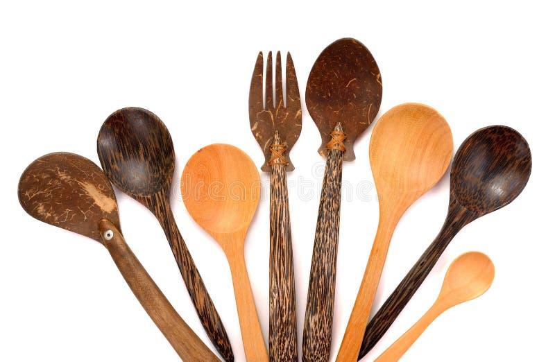 Kolekcja drewniani kuchenni naczynia odizolowywający na białym tle zdjęcie stock
