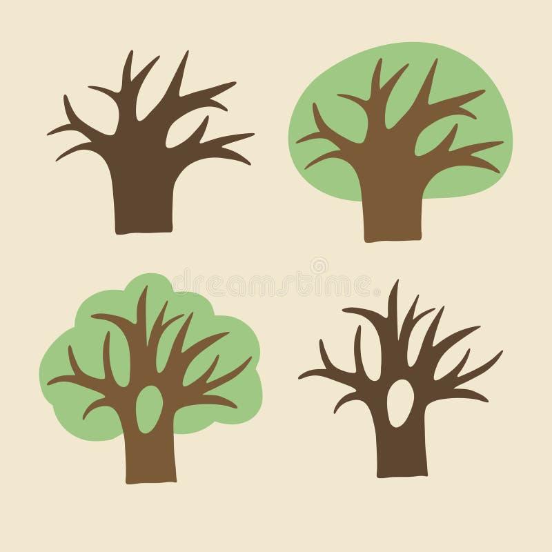Kolekcja drzewa ilustracja wektor