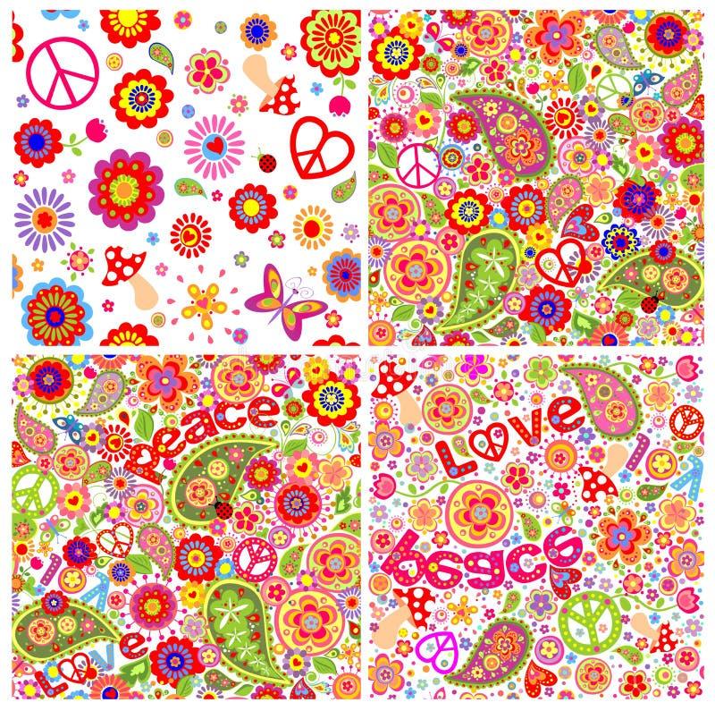 Kolekcja dziecięce śmieszne kolorowe hipis tapety ilustracji