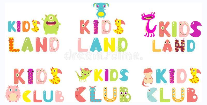 Kolekcja dzieciaki Ląduje i dzieciaki Tłuc inskrypcje ilustracja wektor