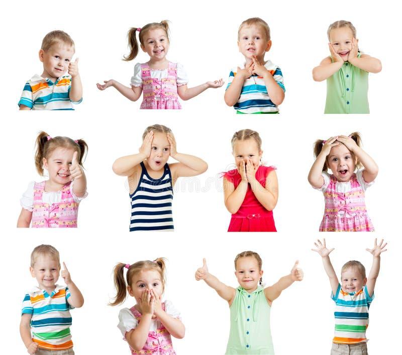 Kolekcja dzieciaki z różnymi emocjami odizolowywać na białym bac fotografia royalty free