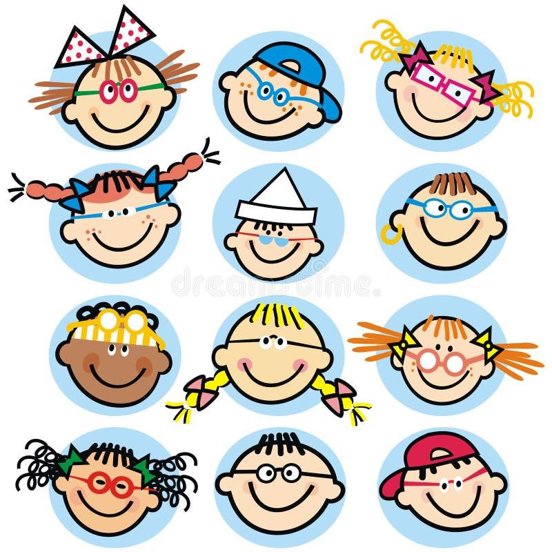 Kolekcja dziecka ` s twarze, grupa głowy, wektorowa ikona, odosobneni portrety ilustracji