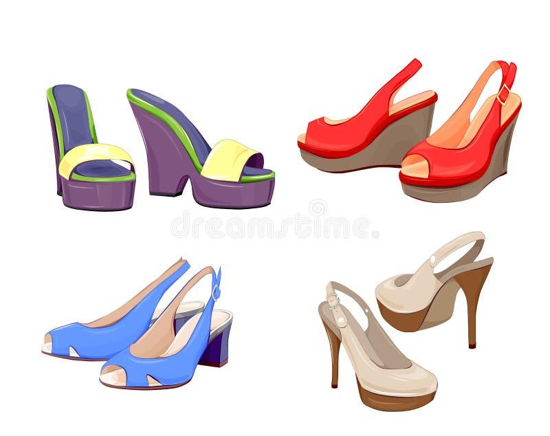 kolekcja dziewczyna buty royalty ilustracja