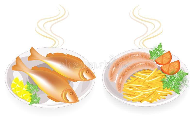 Kolekcja E Garniruje grule, cytryna, pomidor, pietruszka, koper Smakowity i od?ywczy jedzenie ilustracji