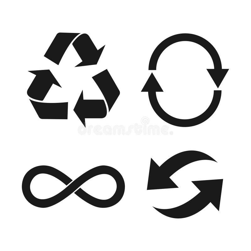 Kolekcja Eco, Organicznie, ekologia, Przetwarza czarnych znaki lub symbole royalty ilustracja