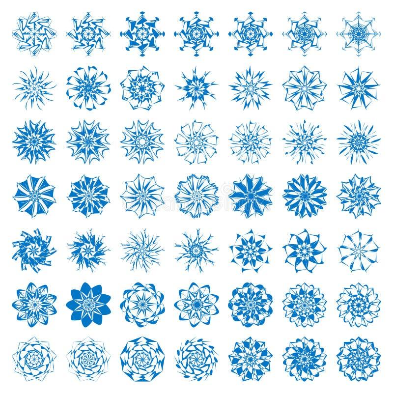 Kolekcja elegante eleganccy płatki śniegu odizolowywający na białym tle ilustracja wektor