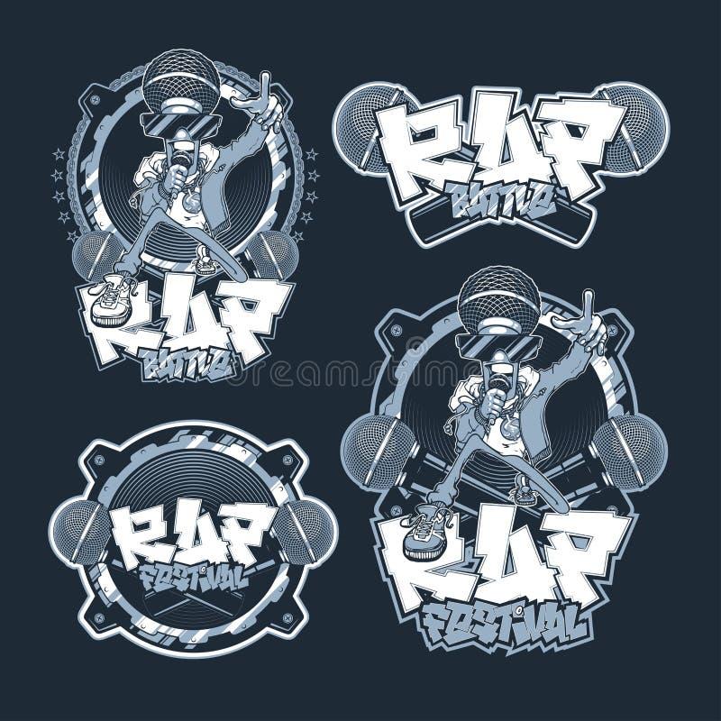 Kolekcja emblemata rap festiwal i bitwa Set wektorowi logo, odznaki, majchery Hip Hop i rap, zdjęcia royalty free