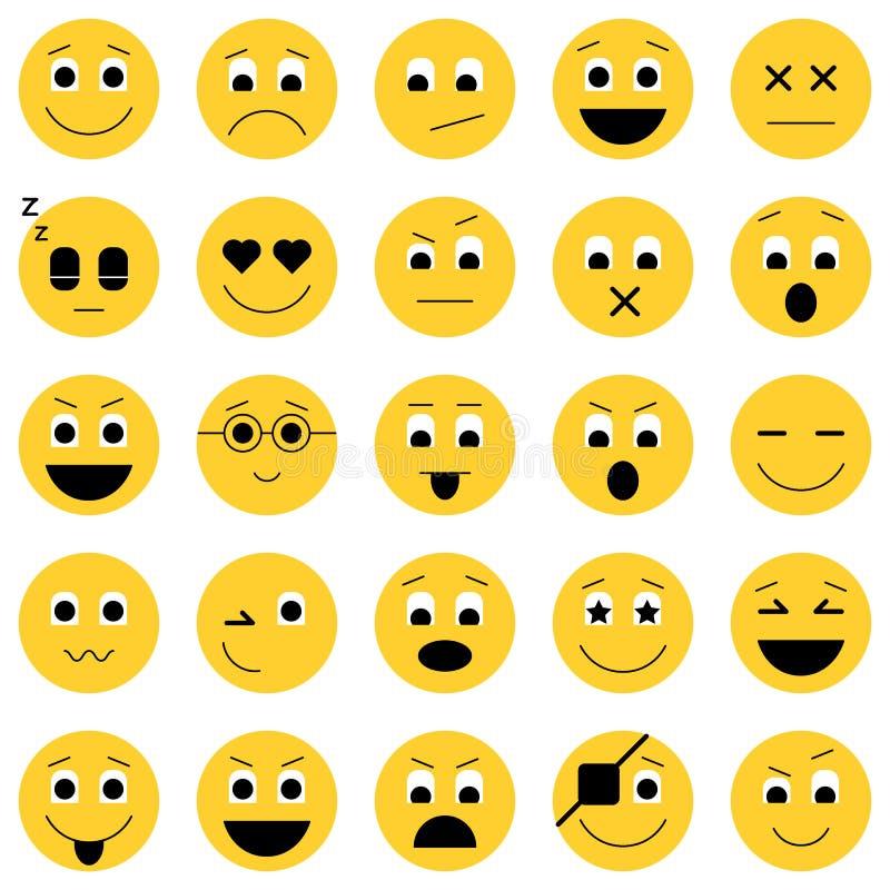 Kolekcja emoticon ikony Abstrakcjonistyczna emoji ilustracja Uśmiecha się ikony wektorową ilustrację odizolowywającą na białym tl ilustracji