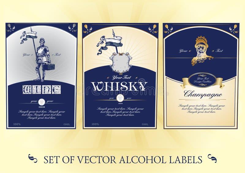 Kolekcja etykietki dla alkoholu ilustracji