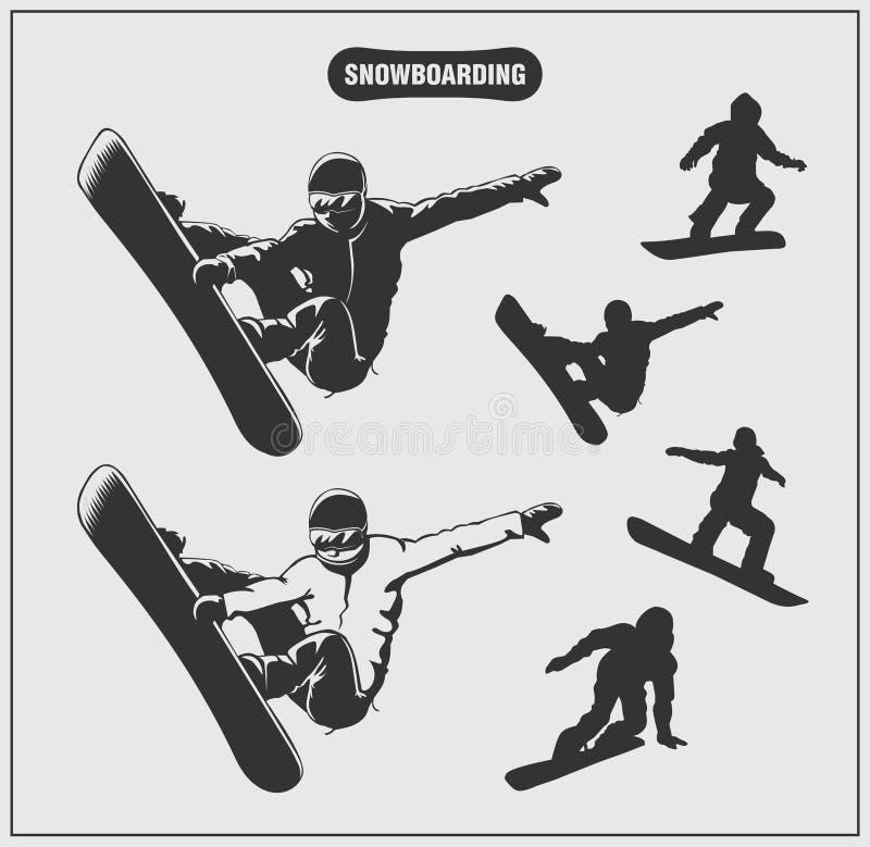 Kolekcja etykietki, emblematy, odznaki i sylwetki snowboarders jazda na snowboardzie, ilustracja wektor