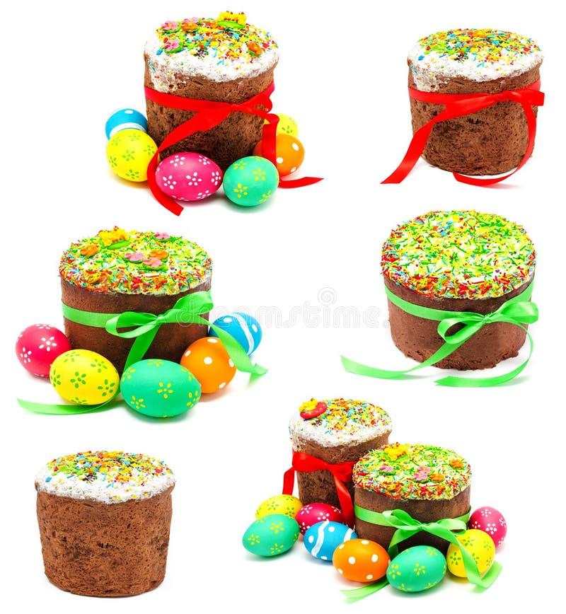 Kolekcja fotografie dekorował handmade Easter tort fotografia royalty free