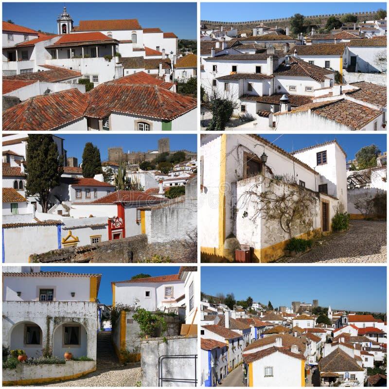 Kolekcja fotografie od portuguese średniowiecznego miasteczka Obidos fotografia royalty free
