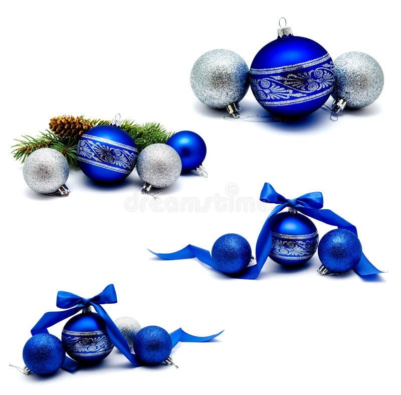 Kolekcja fotografii bożych narodzeń dekoraci błękitne i srebne piłki obraz royalty free