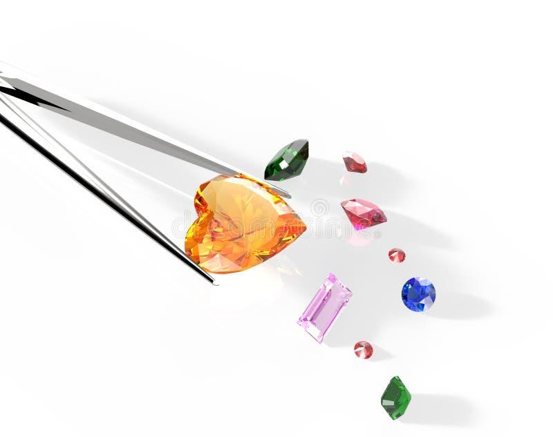 Kolekcja gemstones ilustracja 3 d obrazy royalty free