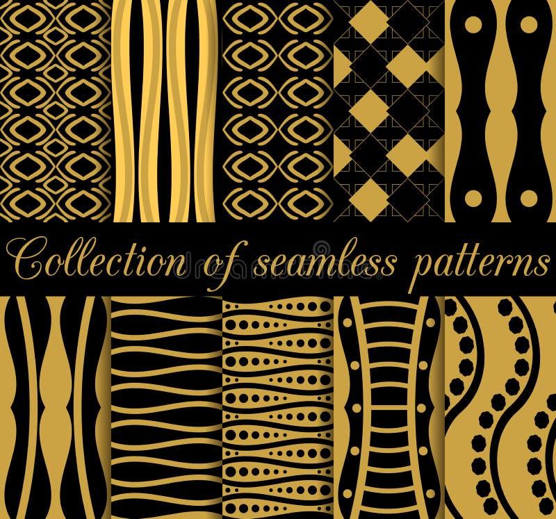 Kolekcja geometryczni bezszwowi wzory w art deco stylu ilustracji