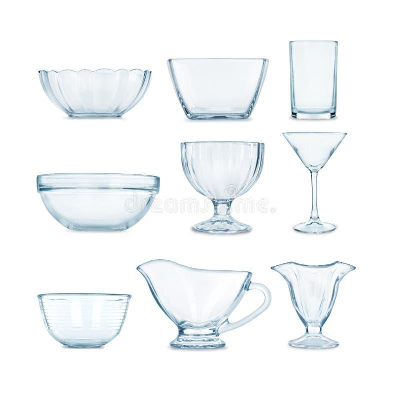 Kolekcja glassware obrazy royalty free