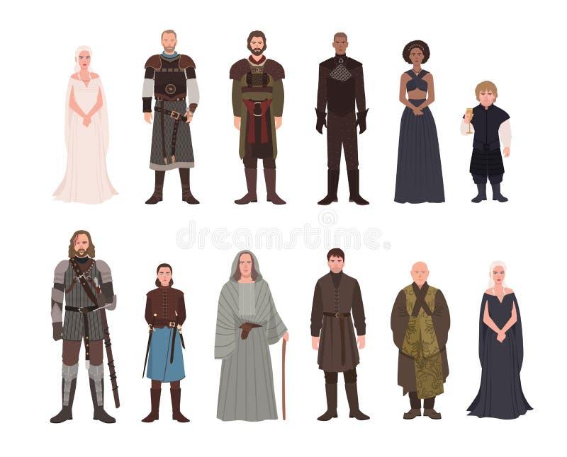 Kolekcja gra adaptaci samiec i żeńscy powieściowi charaktery tron fantazi telewizi i powieści Wspaniali mężczyzna ilustracji