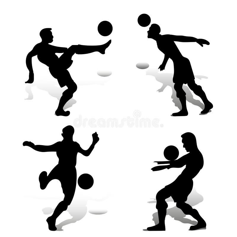 Kolekcja gracze piłki nożnej bawić się z piłką, sylwetki ilustracja wektor