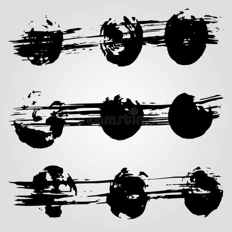 Kolekcja grunge czerni atramentu kleksy na białym tle i sztandary royalty ilustracja