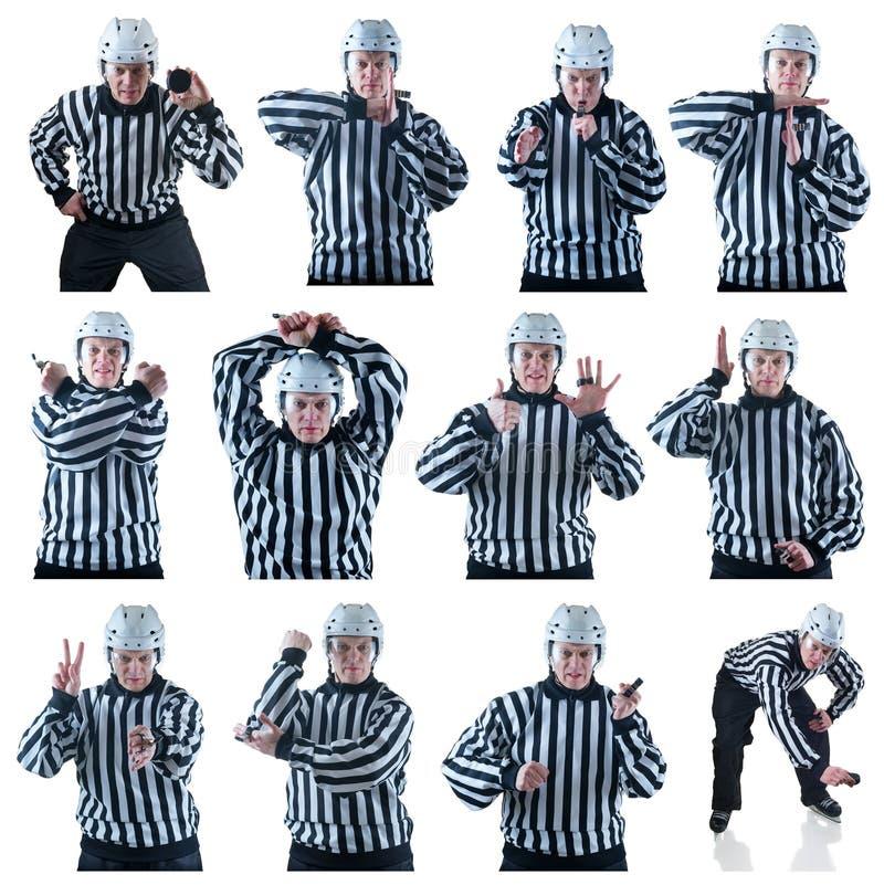 Kolekcja hokejowi arbitrów gesty zdjęcie stock