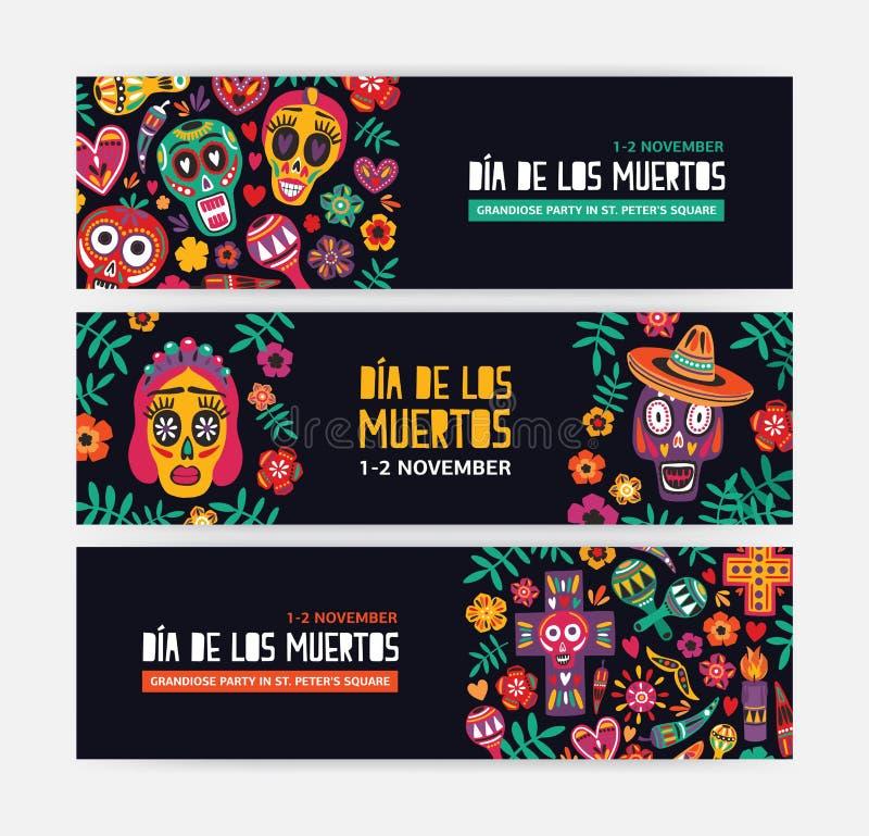 Kolekcja horyzontalni sieć sztandaru szablony dekorujący z Meksykańskimi calaveras, czaszki, kwiaty lub świeczki, świąteczny ilustracji