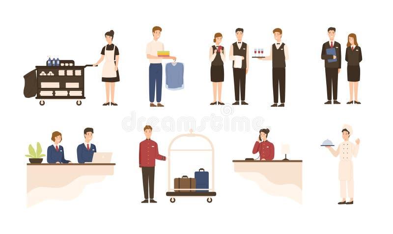 Kolekcja hotelu personel - recepcjonista, gosposi lub housekeeping towarzyszący pracownicy usługowi i pralniani, kelnery i ilustracja wektor