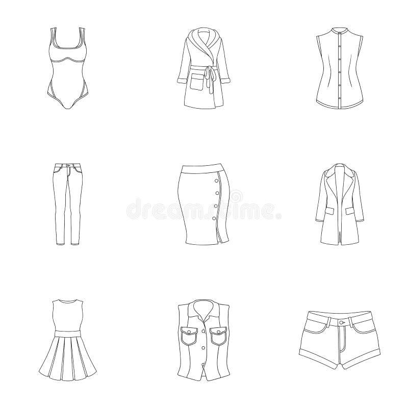 Kolekcja ikony kobiety odzież Różnorodny kobiety ` s odziewa dla pracy, odprowadzenie, sporty Kobiety odziewa ikonę w secie ilustracja wektor