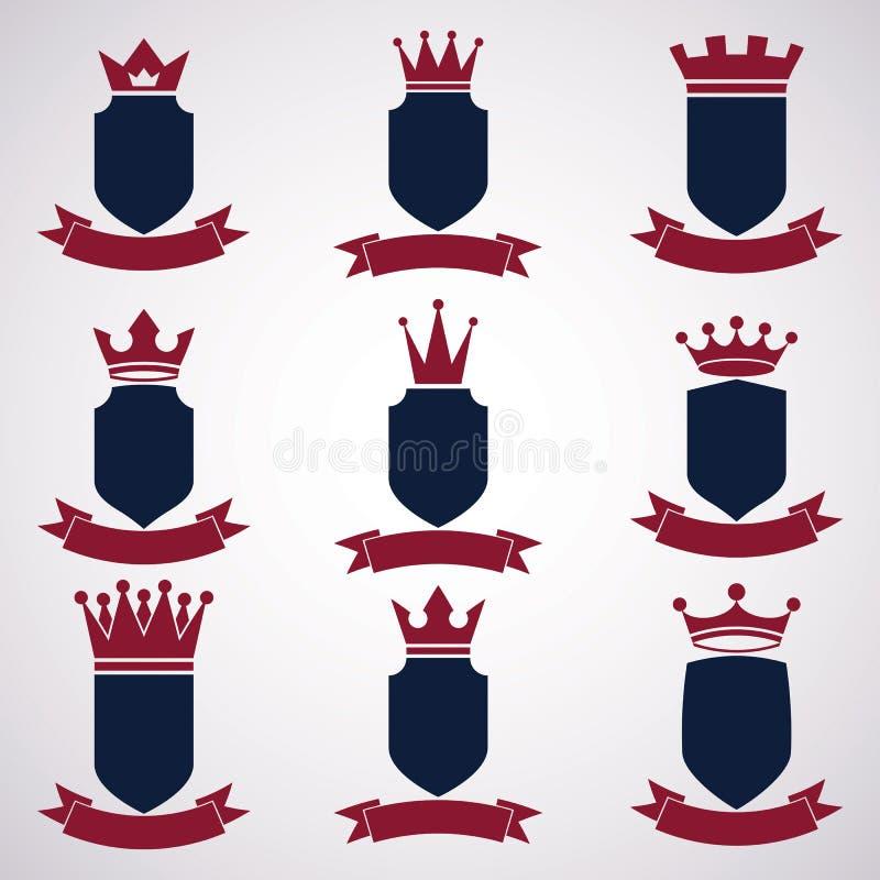 Kolekcja imperium projekta elementy Heraldyczna królewska coronet bolączka ilustracji