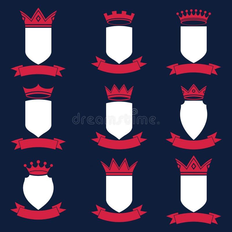 Kolekcja imperium projekta elementy Heraldyczna królewska coronet bolączka ilustracja wektor