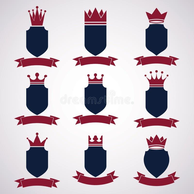 Kolekcja imperium projekta elementy Heraldyczna królewska coronet bolączka royalty ilustracja