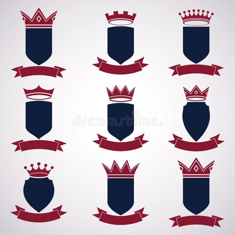 Kolekcja imperium projekta elementy Heraldyczny królewski coronet ilustracji