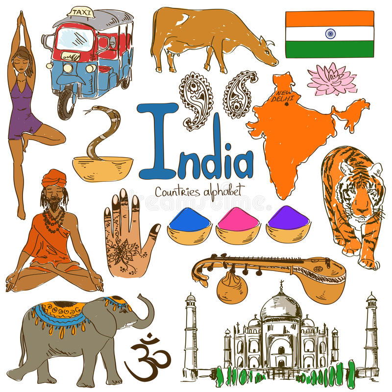 Kolekcja India ikony royalty ilustracja