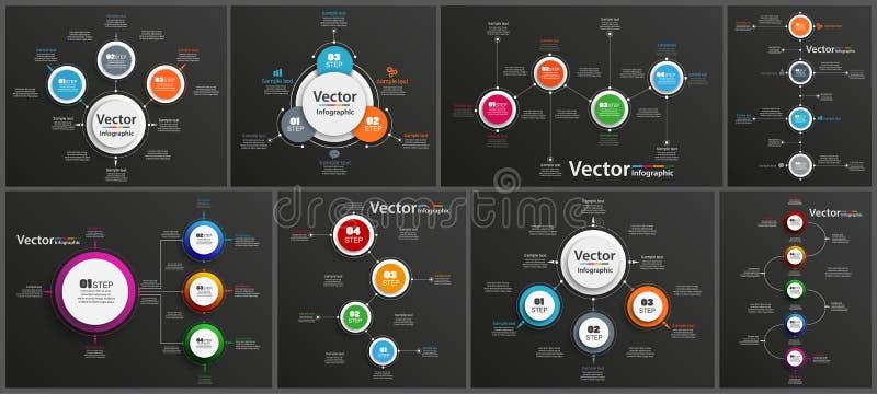 Kolekcja infographic na czarnym tle może używać dla obieg układu, diagram, numerowe opcje, sieć projekt ilustracji
