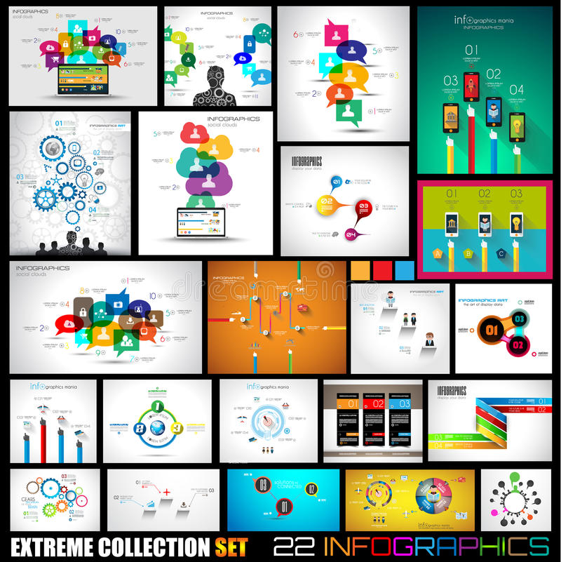 Kolekcja 22 Infographics dla ogólnospołecznych środków i chmur ilustracja wektor