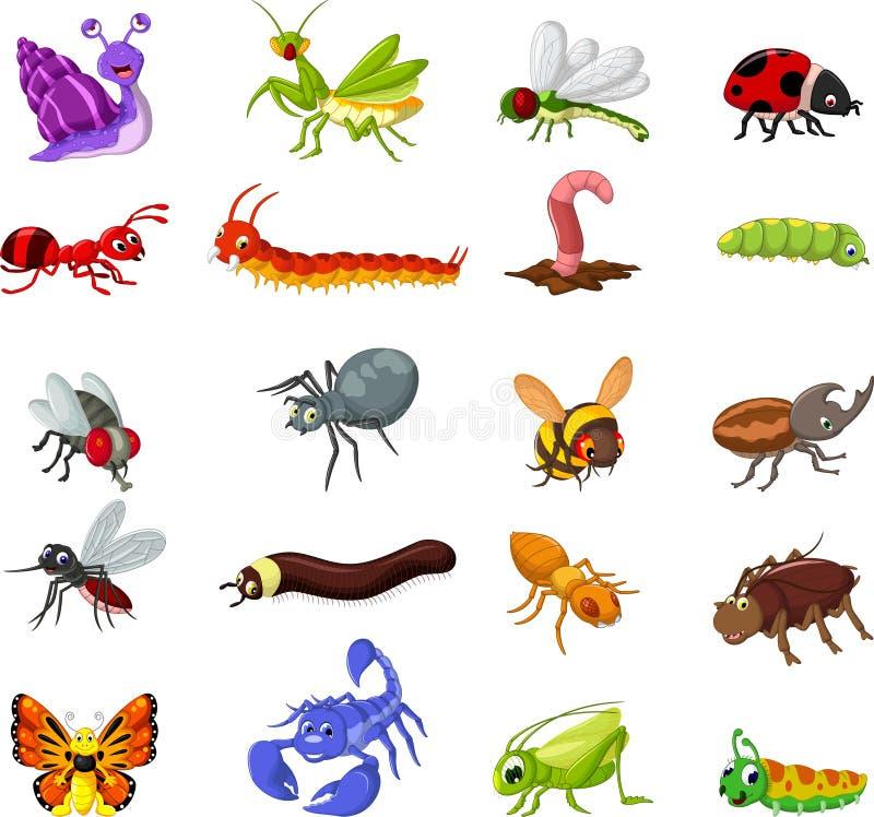 Kolekcja insekt kreskówka dla ciebie projektuje royalty ilustracja