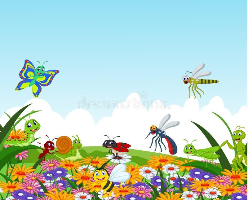Kolekcja insekty w kwiatu ogródzie ilustracji