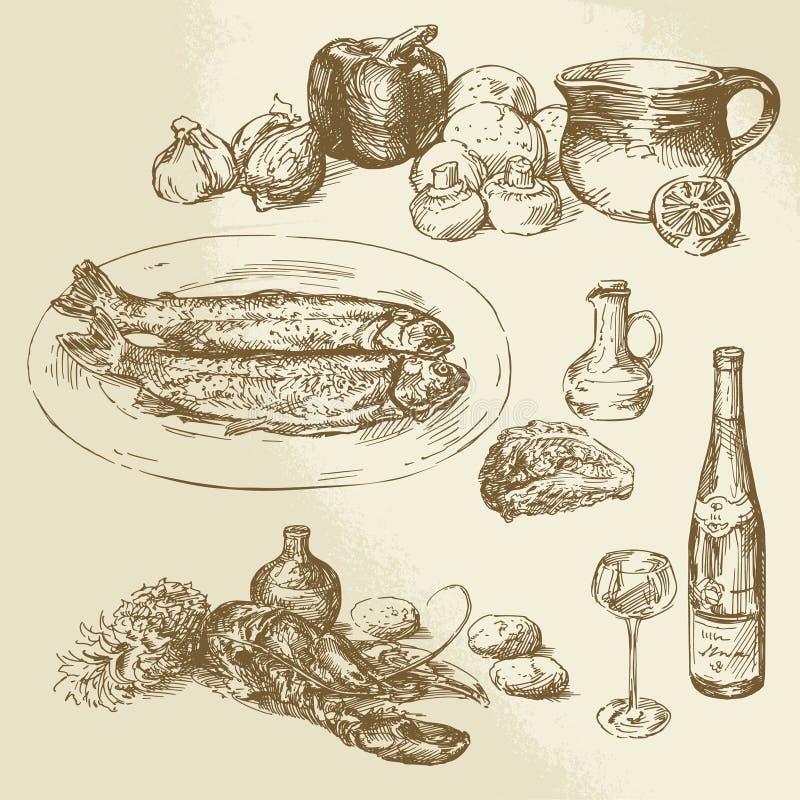 Kolekcja jedzenie ilustracji