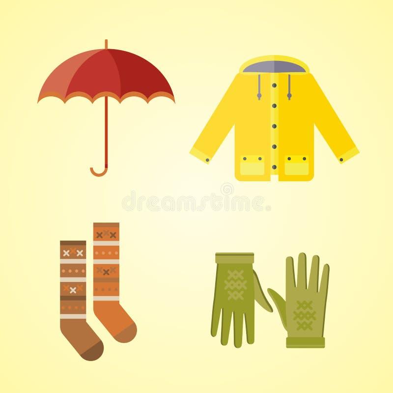 Kolekcja jesieni ubrania ustawiać rzeczy spadku szalika kapeluszowe rękawiczki pokrywa deszczowa wina wektoru parka rozmyślającą  ilustracja wektor