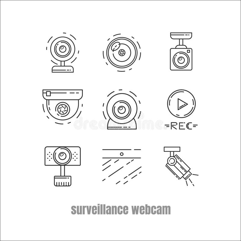 Kolekcja kamera internetowa, ikona, CCTV i kamery bezpieczeństwa royalty ilustracja