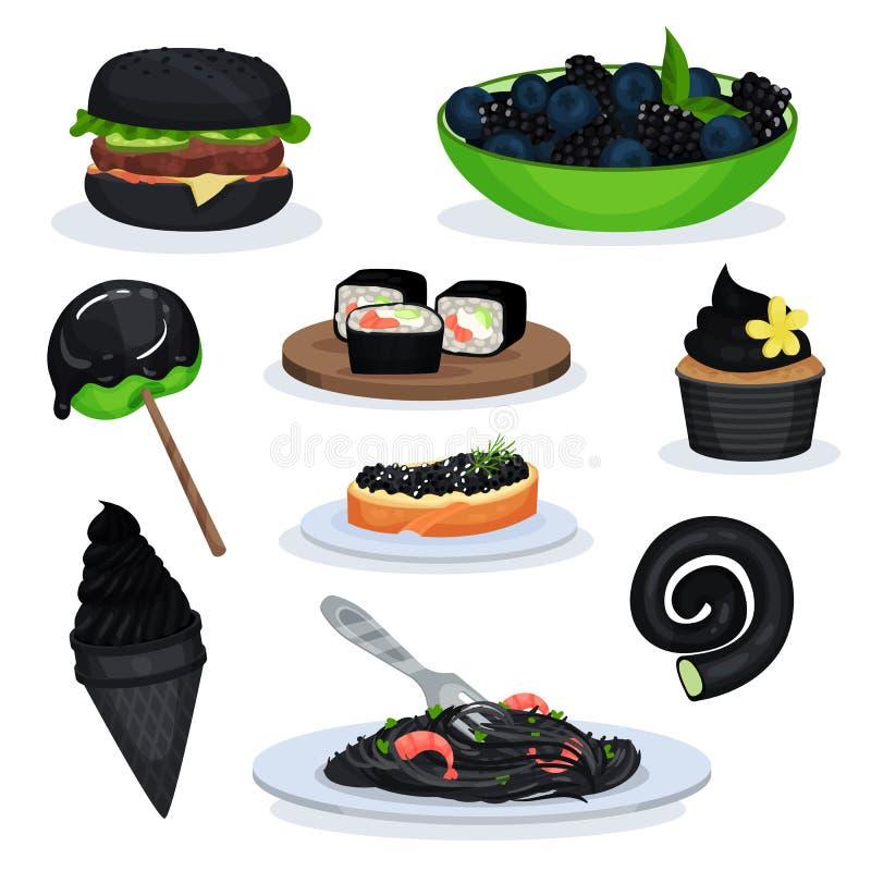 Kolekcja karmowi naczynia czarny kolor, hamburger, czernicy, lizak, suszi rolki, babeczka, lody rożek, makaron ilustracja wektor