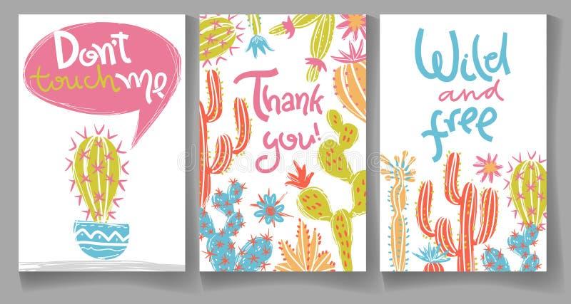 Kolekcja kartka z pozdrowieniami z ręka rysującym kaktusem Jaskrawy exot ilustracja wektor