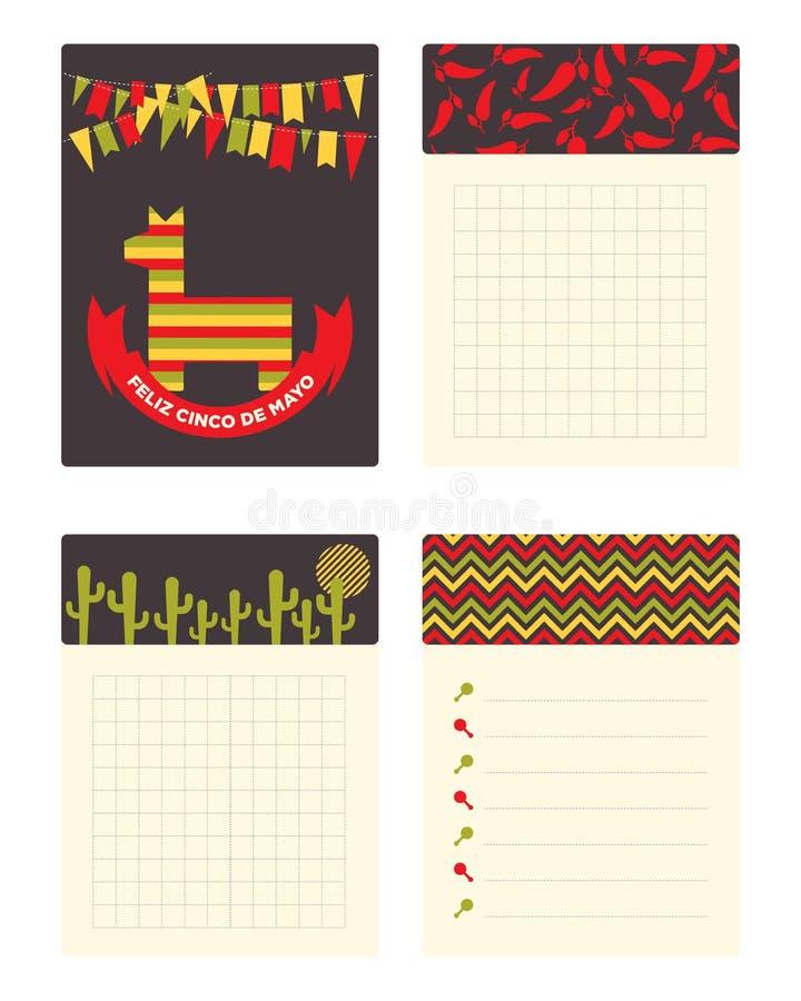 Kolekcja karty i notatki z Meksykańskimi ornament ilustracjami ilustracja wektor