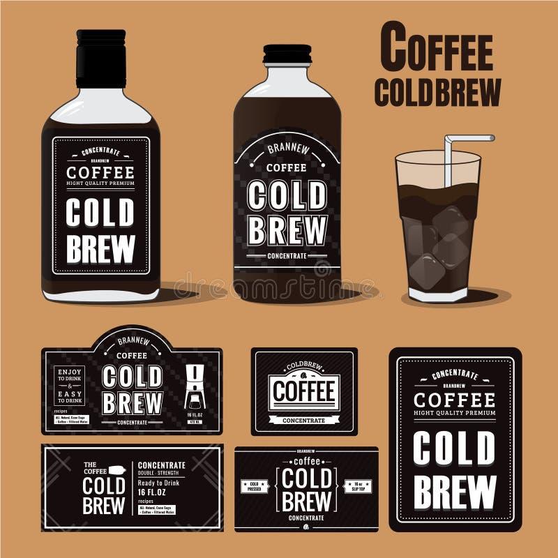 Kolekcja kawowe zimne parzenie etykietki w butelkach zdjęcia stock